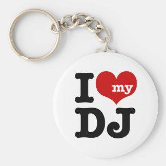 I love My DJ Basic Round Button Keychain