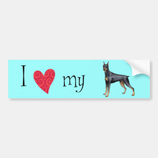 I Love my Doberman Car Bumper Sticker