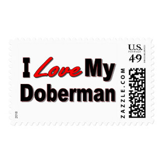I Love My Doberman Dog Gifts and Apparel Stamps