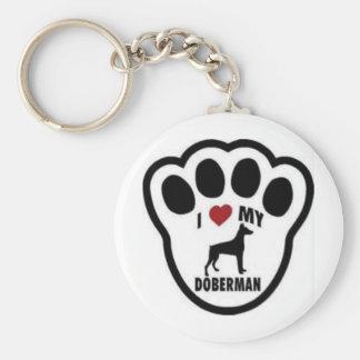 I love my Doberman paw print Basic Round Button Keychain