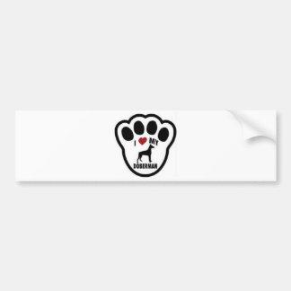 I love my Doberman paw print Bumper Sticker