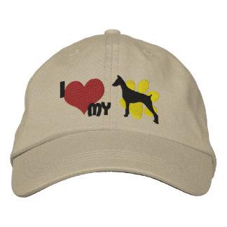 I Love my Doberman Pinscher Embroidered Baseball Hat