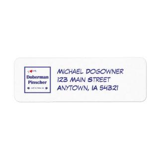 I Love My Doberman Pinscher (Male Dog) Label