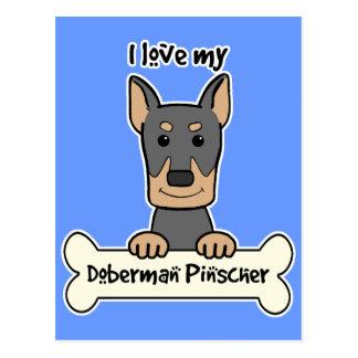 I Love My Doberman Postcard