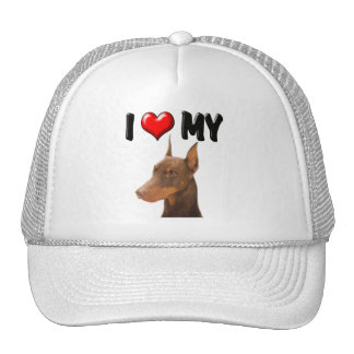 I Love My Doberman Trucker Hat