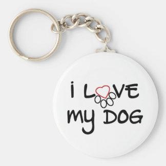 I love my dog 2.5'' keychain white