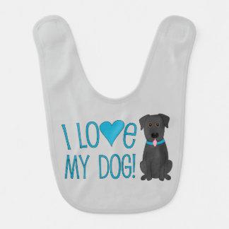 I love my dog! Black Lab Baby Bib