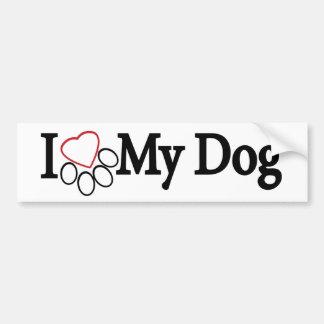 I Love My Dog Black on White Bumper Sticker