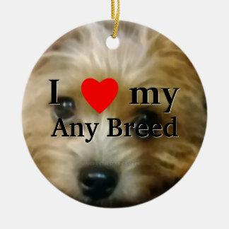 I love my dog breed ceramic ornament