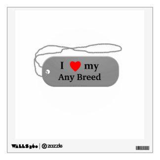 I love my dog breed wall sticker
