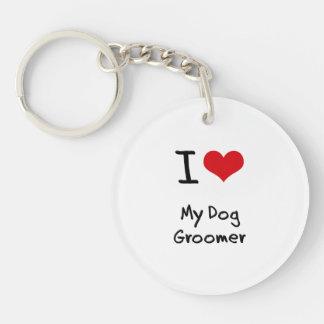 I Love My Dog Groomer Single-Sided Round Acrylic Keychain