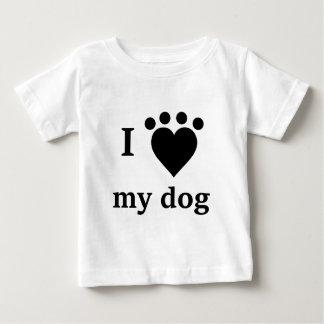 I love my dog heart pawprint baby T-Shirt