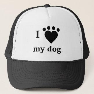 I love my dog heart pawprint trucker hat