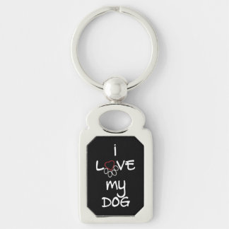 I love my dog Keychain for Rectangle or Swirl