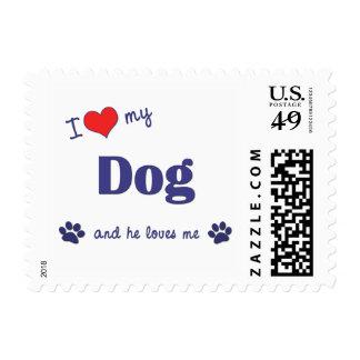 I Love My Dog (Male Dog) Postage Stamp
