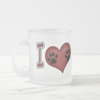 I love my Dog! 10 Oz Frosted Glass Coffee Mug