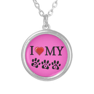 I Love My Dog Necklace Pink Background