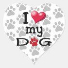 I Love My Dog Paw Watermark Heart Sticker