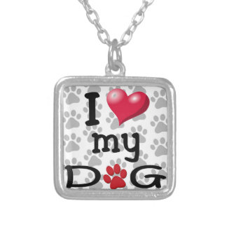 I Love My Dog Paw Watermark Silver Plated Necklace