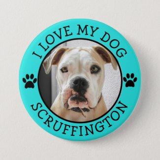 I Love My Dog Photo Button