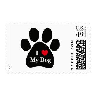 I Love My Dog Postage Stamp