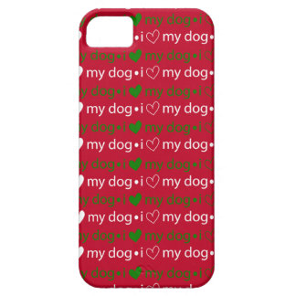 I Love My Dog Red and Green iPhone case
