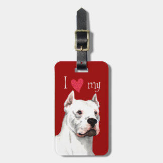 I Love my Dogo Argentino Bag Tags