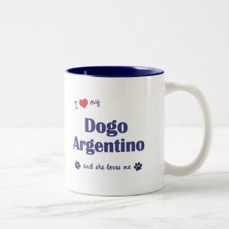 I Love My Dogo Argentino (Female Dog) Two-Tone Coffee Mug