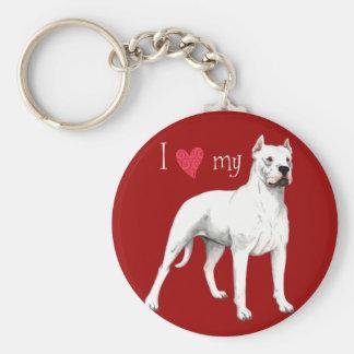 I Love my Dogo Argentino Keychain