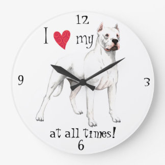 I Love my Dogo Large Clock