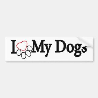 I Love My Dogs Black on White Bumper Sticker
