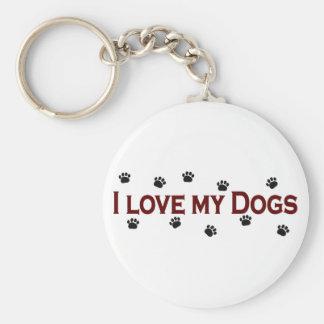 I Love My Dogs Keychain