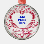 I Love My Dogs! Photo Red Hearts Christmas Tree Ornament