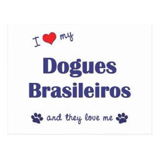 I Love My Dogues Brasileiros (Multiple Dogs) Postcard