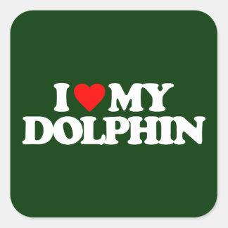 I LOVE MY DOLPHIN SQUARE STICKER