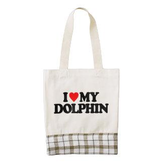 I LOVE MY DOLPHIN ZAZZLE HEART TOTE BAG