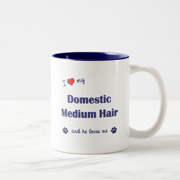 I Love My Domestic Medium Hair (Male Cat) Two-Tone Coffee Mug