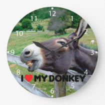 I Love My Donkey Funny Mule Farm Animal Large Clock