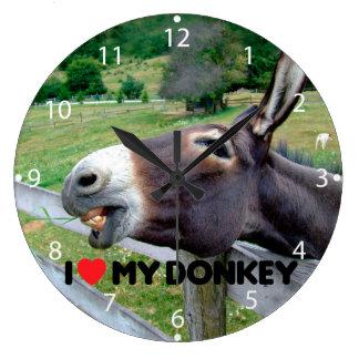 I Love My Donkey Funny Mule Farm Animal Large Clock
