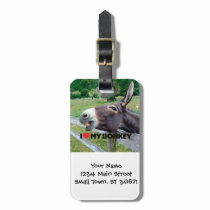 I Love My Donkey Funny Mule Farm Animal Luggage Tag