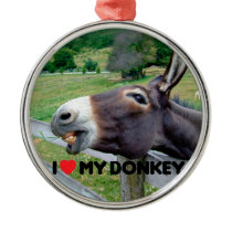 I Love My Donkey Funny Mule Farm Animal Metal Ornament