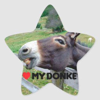I Love My Donkey Funny Mule Farm Animal Star Sticker