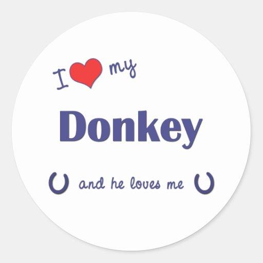 I Love My Donkey (Male Donkey) Stickers