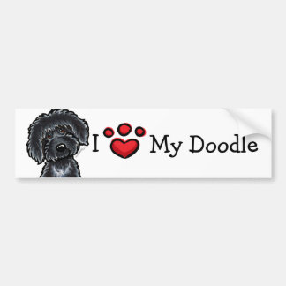 I Love My Doodle Black Labradoodle Car Bumper Sticker
