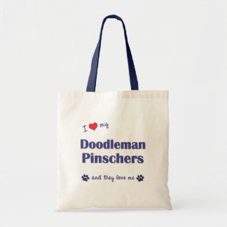 I Love My Doodleman Pinschers (Multiple Dogs) Tote Bag