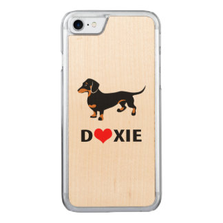 I Love My Doxie Dog - Cute Dachshund with Heart Carved iPhone 7 Case