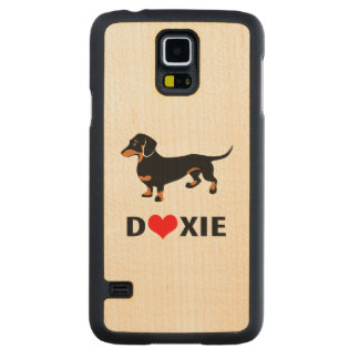 I Love My Doxie Dog - Cute Dachshund with Heart Carved Maple Galaxy S5 Slim Case