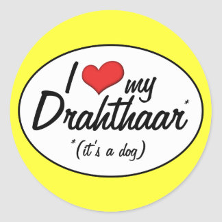 I Love My Drahthaar (It's a Dog) Classic Round Sticker
