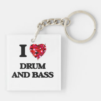 I Love My DRUM AND BASS Double-Sided Square Acrylic Keychain