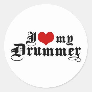 I Love My Drummer Classic Round Sticker